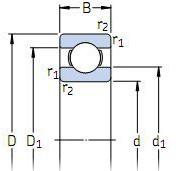 Подшипник стиральной машины в разрезе, с размерами - внутренний и наружный диаметр, ширина (глубина)